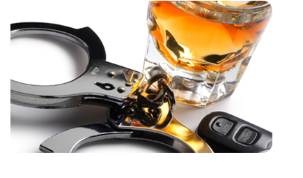 Keys, handcuffs and an alcohol drink
